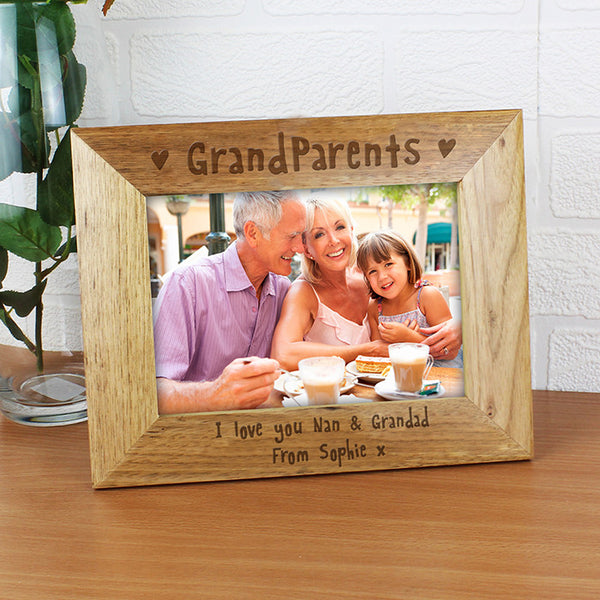 personalised photo frame grandparents wooden 5x7