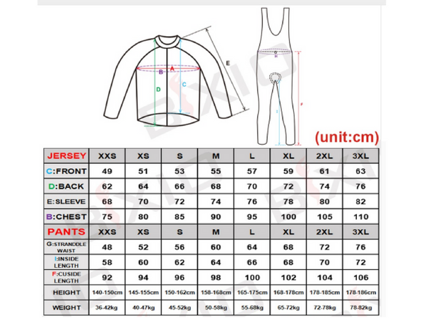 Women Long Sleeve Set Sizing
