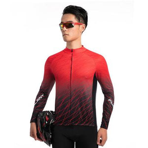 Men's Thermal Cycling Jersey - RED MATRIX