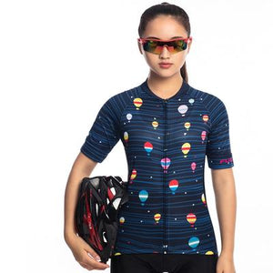 Women's Short Sleeve Cycling Jersey Set - HOT AIR BALLOON