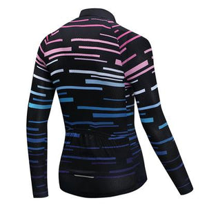 Men's Thermal Cycling Jersey Set - VIOLET STRIP