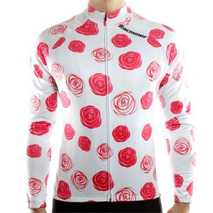 Trendy Cycling Men's White / S Red Rose - Men's Long Sleeve Jersey