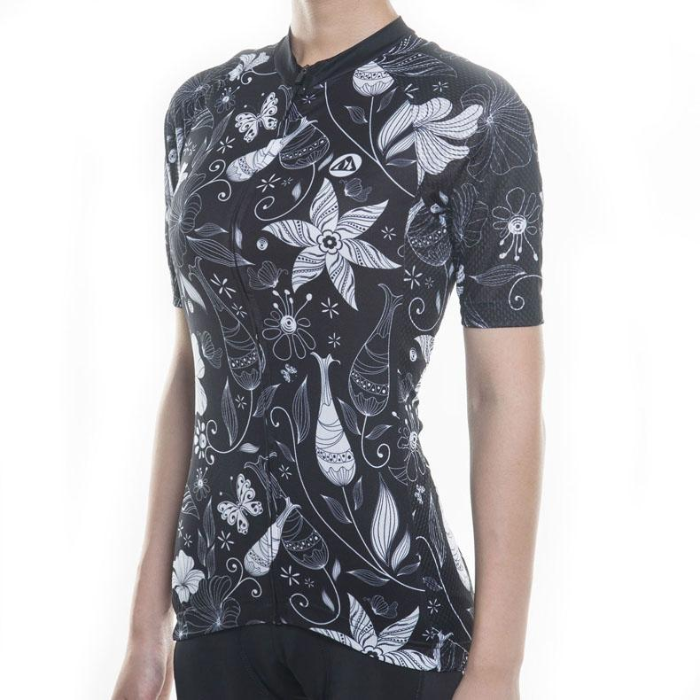 Trendy Cycling Women's BLACK PETAL - WOMEN'S SHORT SLEEVE JERSEY