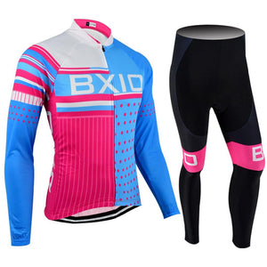 Trendy Cycling Women's JERSEY AND PANTS / XXL / SkyBlue SQUARED - WOMEN'S THERMAL JERSEY SET