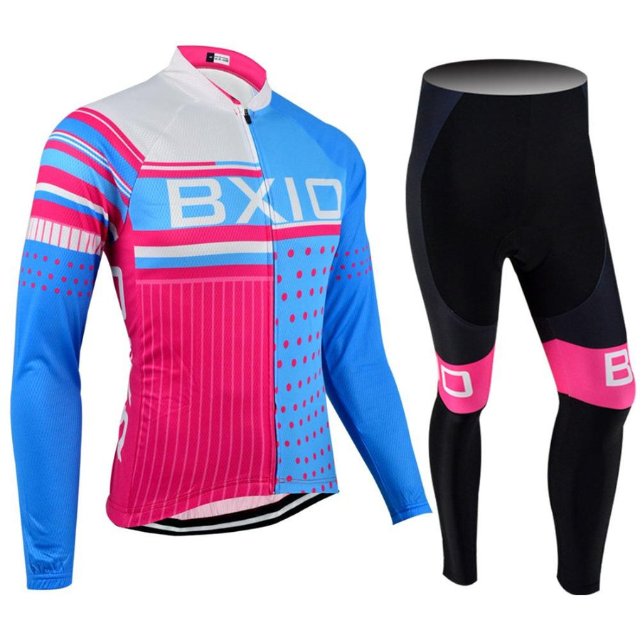 Trendy Cycling Women's JERSEY AND WHITE BIB / XXL / SkyBlue SQUARED - WOMEN'S THERMAL JERSEY SET