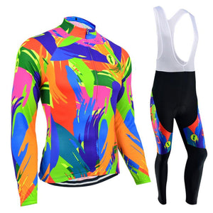 Women's Thermal Sleeve Cycling Jersey Set - FLUO