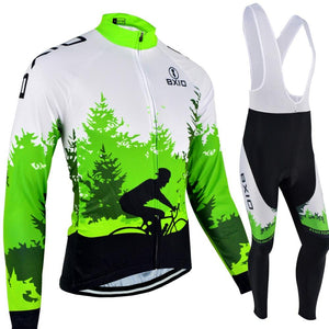 Trendy Cycling Women's JERSEY AND WHITE BIB / XXL / Green FOREST - WOMEN'S THERMAL JERSEY SET