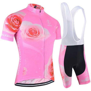 Trendy Cycling Women's JERSEY AND WHITE BIB / XXL / LightPink Rose Twist - Women's Short Sleeve Jersey Set