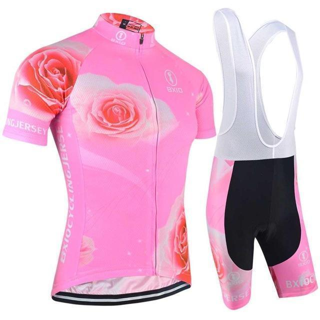 Trendy Cycling Women's JERSEY AND PANTS / XXL / LightPink Rose Twist - Women's Short Sleeve Jersey Set