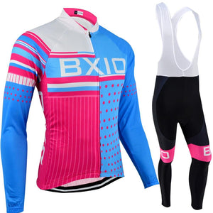 Trendy Cycling Women's JERSEY AND WHITE BIB / XXL / SkyBlue SQUARED - WOMEN'S LONG SLEEVE JERSEY SET