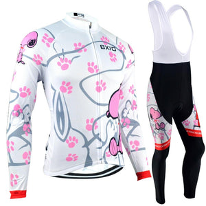 Trendy Cycling Women's JERSEY AND WHITE BIB / XXL / White PAW - WOMEN'S THERMAL JERSEY SET