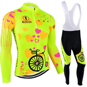 Trendy Cycling Women's JERSEY AND WHITE BIB / XXL / Yellow LOVING - WOMEN'S THERMAL JERSEY SET
