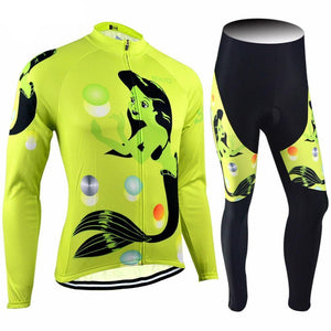 Trendy Cycling Women's JERSEY & PANTS / XXL / Yellow MERMAID - WOMEN'S LONG SLEEVE JERSEY SET