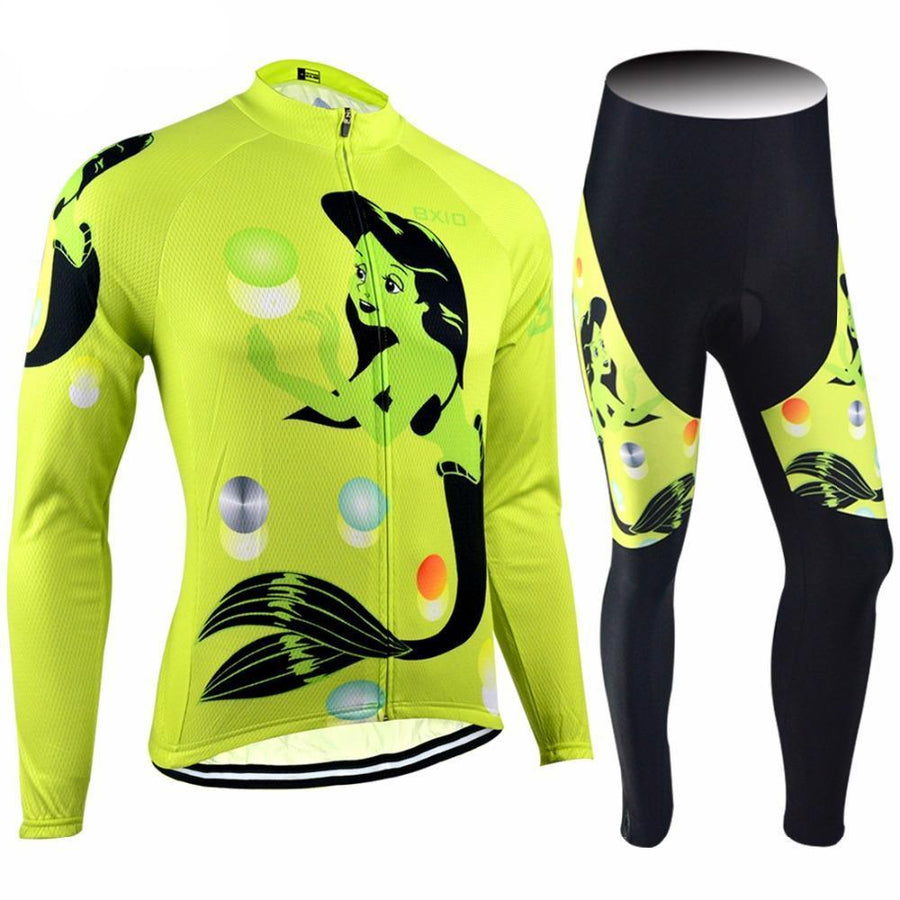 Trendy Cycling Women's JERSEY & WHITE BIB / XXL / Yellow MERMAID - WOMEN'S LONG SLEEVE JERSEY SET