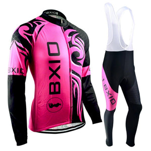 Trendy Cycling Women's JERSEY & WHITE BIB / XXL / DeepPink DRAGON - WOMEN'S THERMAL JERSEY SET