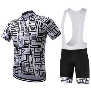TrendyCycling Jersey and white bib / XS / Black Framework - Men's Short Sleeve Jersey Set