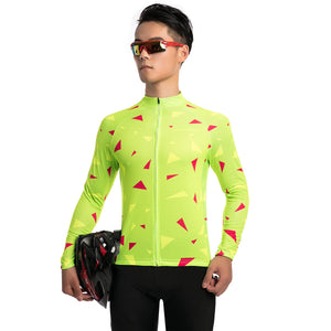 TrendyCycling Men's Ascent Lime - Men's Long Sleeve Jersey