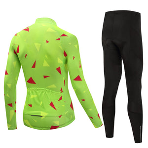 TrendyCycling Men's Ascent Lime - Men's Long Sleeve Jersey Set