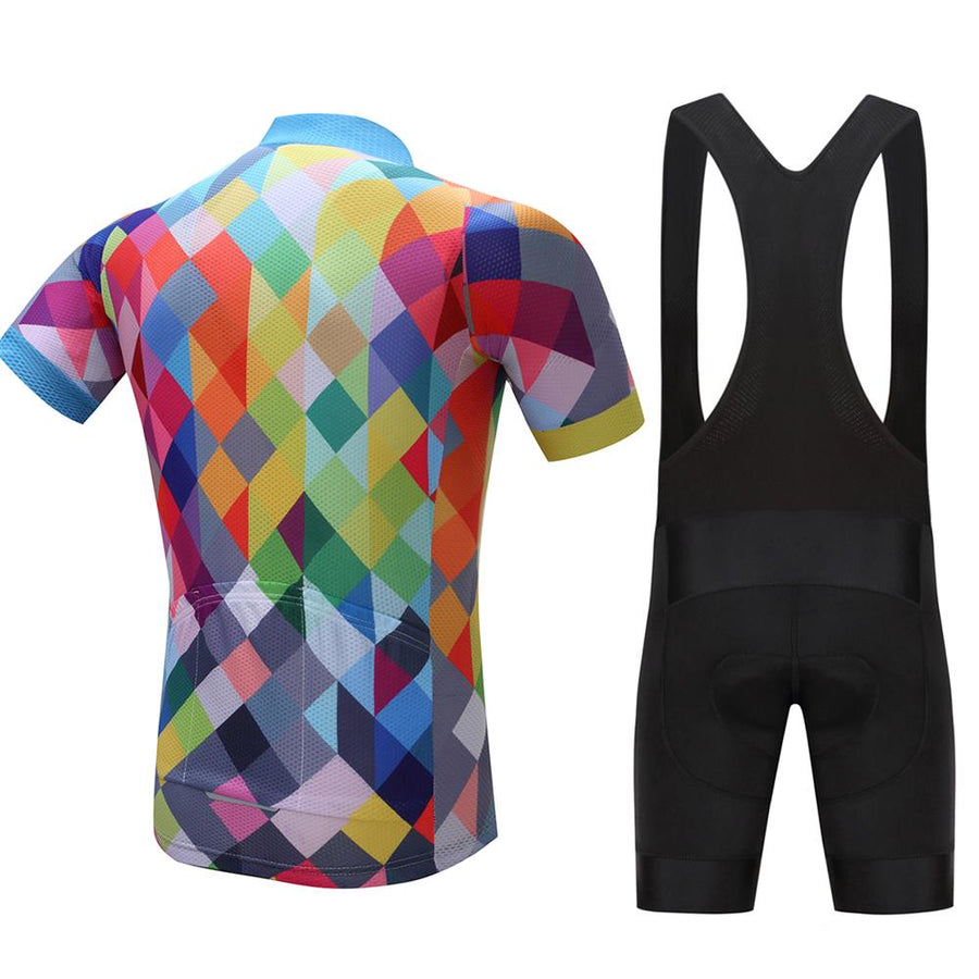 TrendyCycling Men's Jersey and black bib / XS / Blue & Multi Color Diamond - Men's Short Sleeve Jersey Set