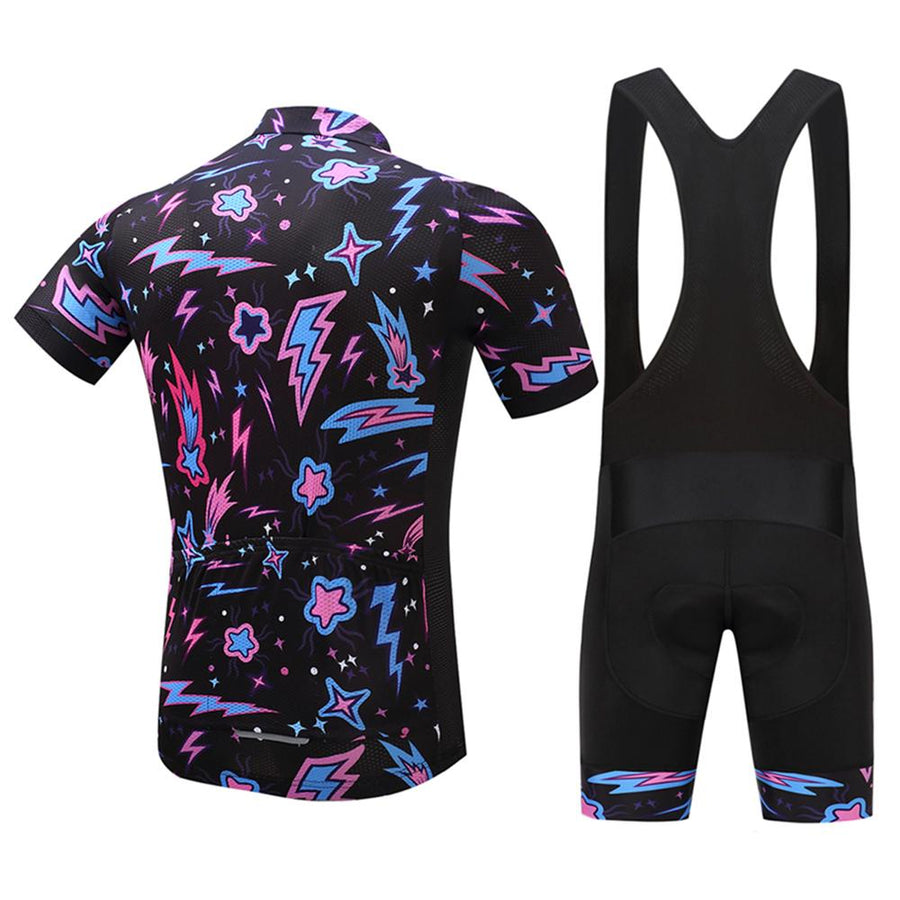 TrendyCycling Men's Jersey and black bib / S / Black Illumination Burst - Men's Short Sleeve Jersey Set