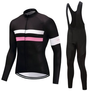 TrendyCycling Men's Jersey and black bib / 4XL / Black Parallel - Men's Long Sleeve Jersey Set