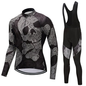 TrendyCycling Men's Jersey and black bib / 4XL / Black Skull - Men's Thermal Jersey Set