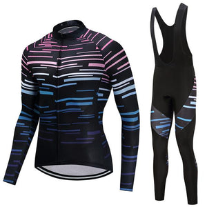 TrendyCycling Men's Jersey and black bib / 4XL / Black Violet Strip - Men's Thermal Jersey Set