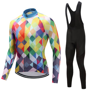 TrendyCycling Men's Jersey and black bib / 4XL / Blue & Multi Color Diamond - Men's Thermal Jersey Set