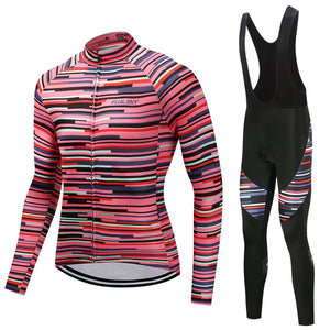 TrendyCycling Men's Jersey and black bib / 4XL / PaleVioletRed Rose Division - Men's Long Sleeve Jersey Set