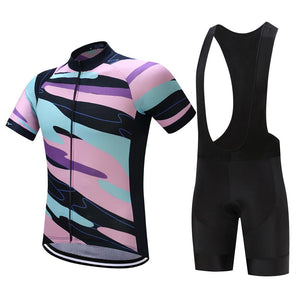 TrendyCycling Men's Jersey and black bib / S / LightPink Element - Men's Short Sleeve Jersey Set