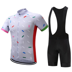 TrendyCycling Men's Jersey and black bib / S / White Confetti - Men's Short Sleeve Jersey Set