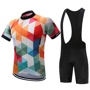 TrendyCycling Men's Jersey and black bib / S / White Jewel - Men's Short Sleeve Jersey Set