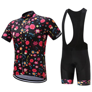 TrendyCycling Men's Jersey and black bib / XS / Black Comic Flower - Men's Short Sleeve Jersey Set