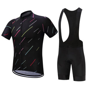 TrendyCycling Men's Jersey and black bib / XS / Black Night Stripe - Men's Short Sleeve Jersey Set