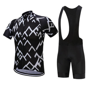 TrendyCycling Men's Jersey and black bib / XS / Black Peak - Men's Short Sleeve Jersey Set