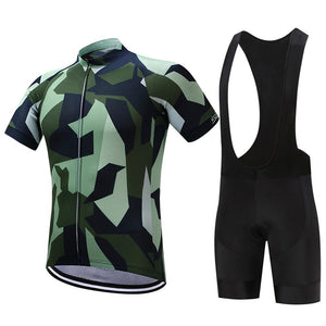 TrendyCycling Men's Jersey and black bib / XS / Green/Camo Army Camo - Men's Short Sleeve Jersey Set