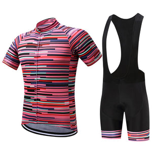 TrendyCycling Men's Jersey and black bib / XS / PaleVioletRed Rose Division - Men's Short Sleeve Jersey Set
