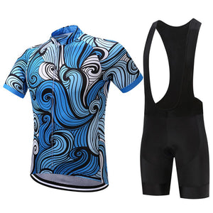 TrendyCycling Men's Jersey and black bib / XS / RoyalBlue Sapphire Waves - Men's Short Sleeve Jersey Set
