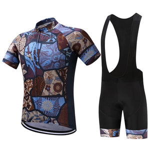 TrendyCycling Men's Jersey and black bib / XS / SaddleBrown Vintage - Men's Short Sleeve Jersey Set
