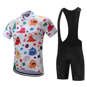 TrendyCycling Men's Jersey and black bib / XS / White Anime - Men's Short Sleeve Jersey Set