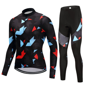 TrendyCycling Men's Jersey and pants / 4XL / Black Onyx Jewel - Men's Thermal Jersey Set