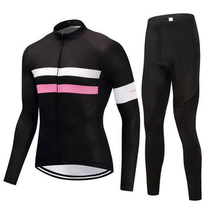 TrendyCycling Men's Jersey and pants / 4XL / Black Parallel - Men's Long Sleeve Jersey Set