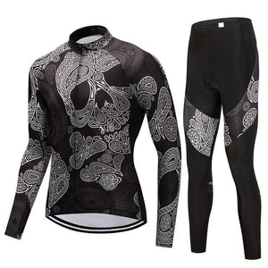 TrendyCycling Men's Jersey and pants / 4XL / Black Skull - Men's Long Sleeve Jersey Set