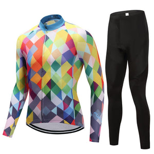 TrendyCycling Men's Jersey and pants / 4XL / Blue & Multi Color Diamond - Men's Thermal Jersey Set
