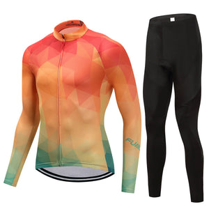 TrendyCycling Men's Jersey and pants / 4XL / Coral Summertime - Men's Thermal Jersey Set