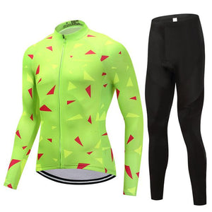 TrendyCycling Men's Jersey and pants / 4XL / Lime Ascent Lime - Men's Long Sleeve Jersey Set