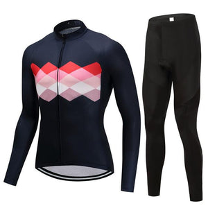 TrendyCycling Men's Jersey and pants / 4XL / Navy Ciclismo - Men's Long Sleeve Jersey Set