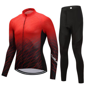 TrendyCycling Men's Jersey and pants / 4XL / Red Red Matrix - Men's Thermal Jersey Set