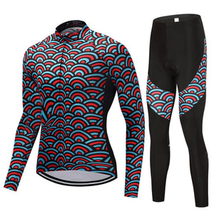 TrendyCycling Men's Jersey and pants / 4XL / SkyBlue Horizon - Men's Thermal Jersey Set