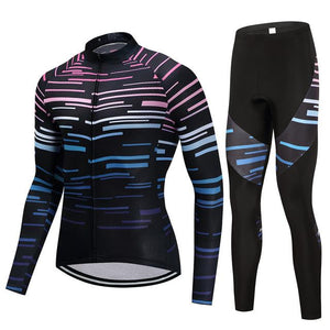 TrendyCycling Men's Jersey and pants / S / Black Violet Strip - Men's Long Sleeve Jersey Set